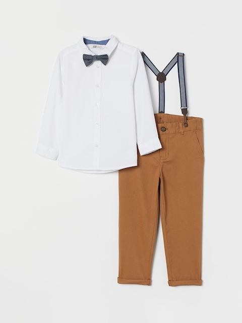H&M Boys Beige Cotton Shirt and Chinos