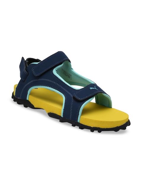 Puma Unisex Navy Blue & Yellow Bambi Jr IDP Sports Sandals With Dual Velcro Fastening