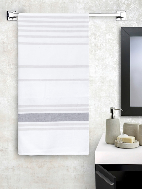 SPACES Unisex White & Grey Striped 450 GSM Bath Towel