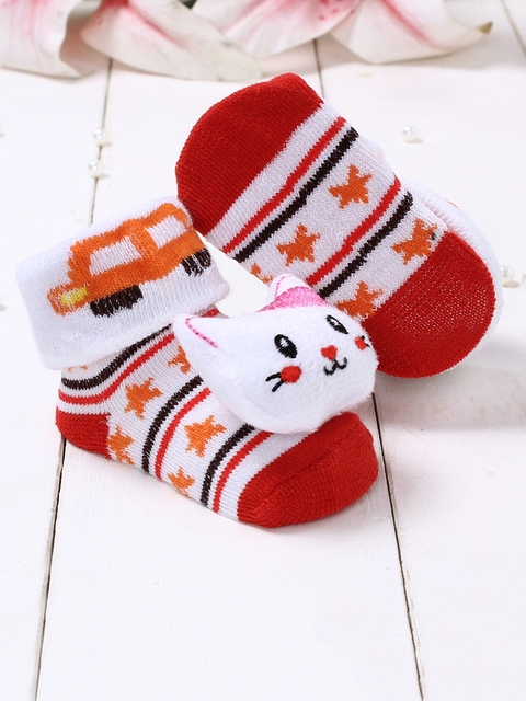 Walktrendy Infant Red & Orange Patterned Kitty Booties