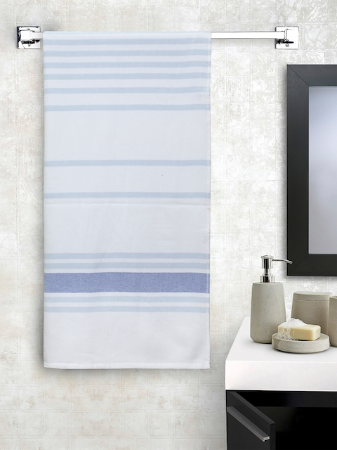 SPACES Unisex White & Blue Striped 450 GSM Bath Towel