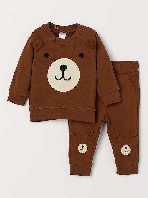 H&M Kids Brown Printed Sweatshirt and Trousers