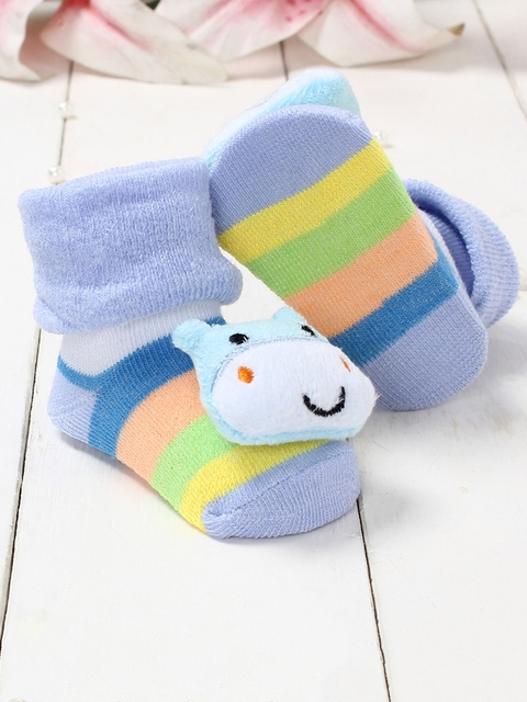 Walktrendy Infants Blue & Yellow Animal Applique Booties