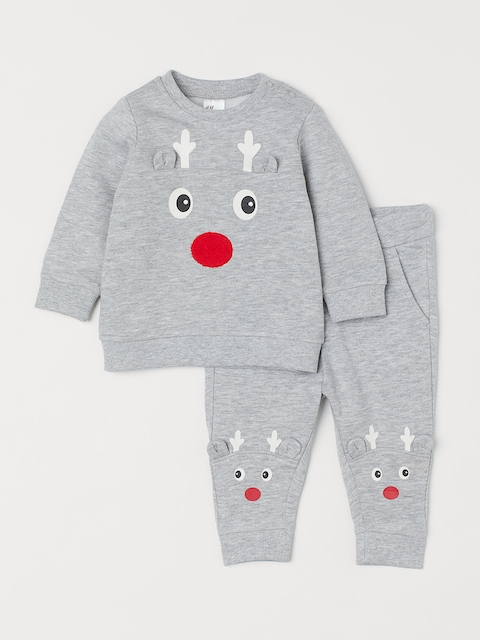 H&M Kids Grey Solid Sweatshirt and Trousers