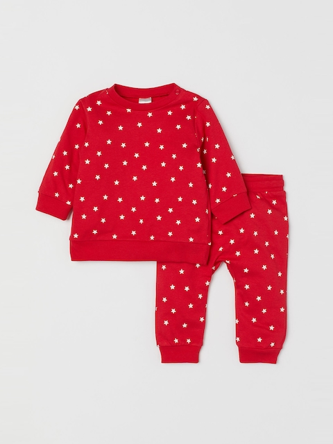 H&M Kids Red & White Printed Sweatshirt and Trousers