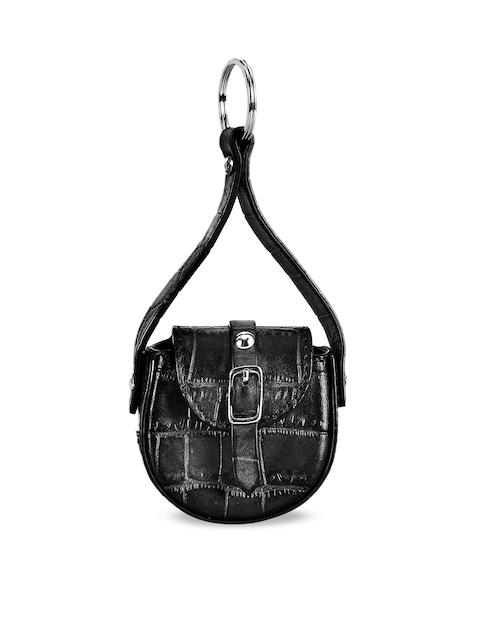 Eske Unisex Black Textured Handcrafted Genuine Leather Max Keychain