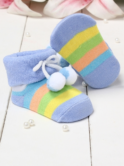 Walktrendy Infants Blue & Yellow Striped Booties