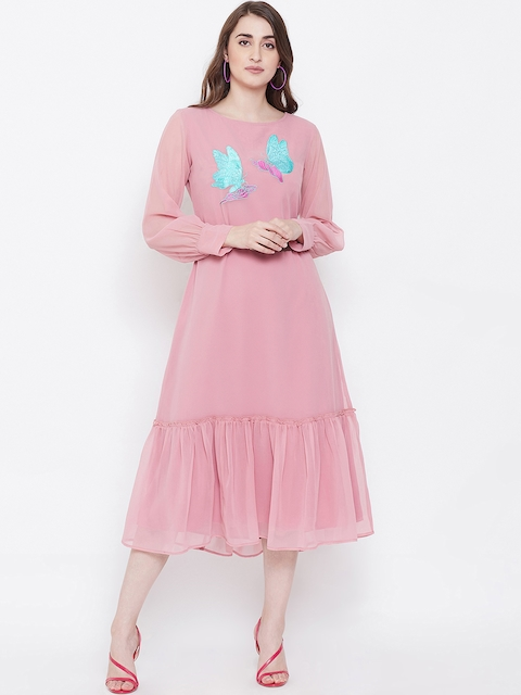 Bitterlime Women Pink Solid A-Line Dress
