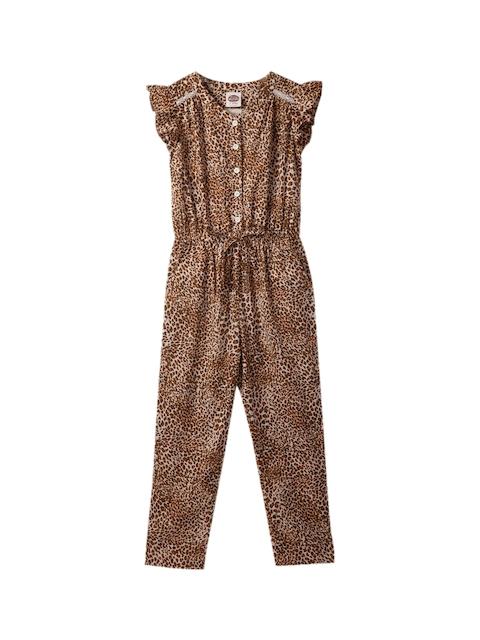 Cub McPaws Girls Brown Leopard Printed Basic Jumpsuit
