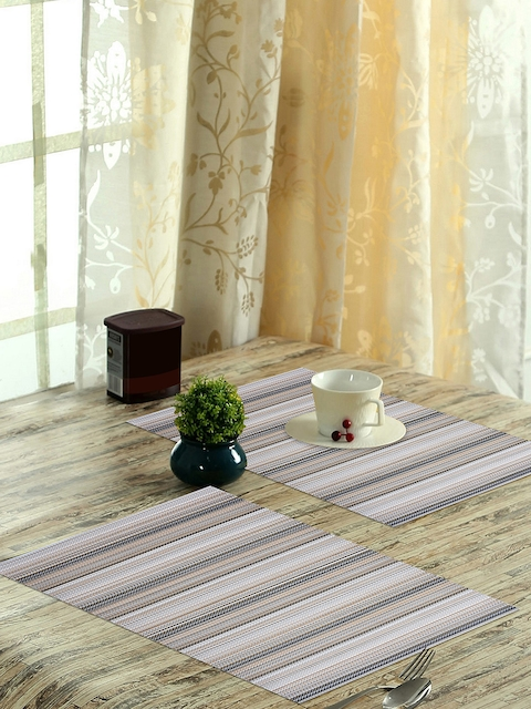 OBSESSIONS Set of 6 Beige & Grey Vinyl Maze Dining Table Mat