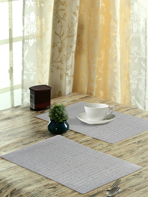 OBSESSIONS Set of 6 Grey Woven Design Glory Dining Table Mat