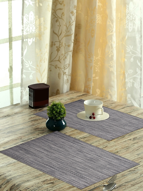 OBSESSIONS Vinyl Maze Set of 6 Grey Textured Stain Resistant Table Placemats