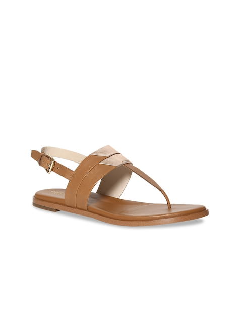 Cole Haan Women Tan Colourblocked Leather T-Strap Flats