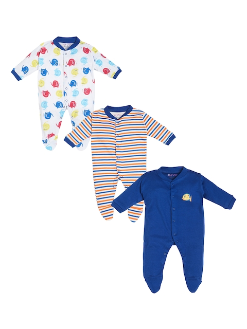 BUMZEE Infant Pack of 3 Blue & White Patterned Sleepsuits