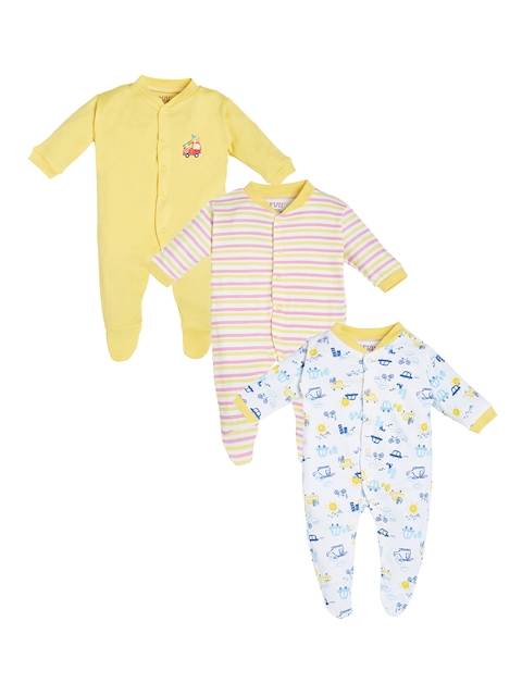 BUMZEE Kids Pack of 3 Yellow, Pink & White Printed Sleepsuits