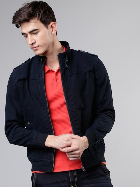 HIGHLANDER Men Solid Denim Jacket, Navy blue