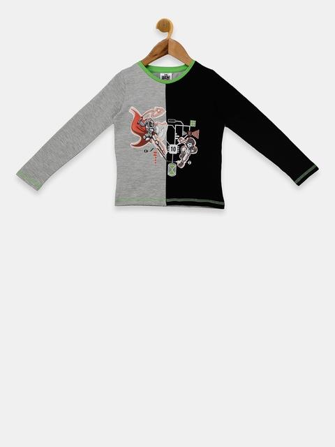 Ben 10 Boys Grey & Black Colourblocked Round Neck T-shirt