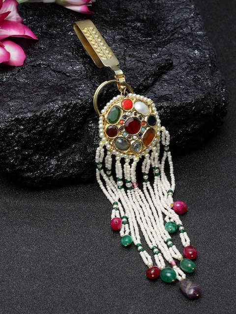 DUGRISTYLE Women White & Red Handcrafted Navrattan Stone-Studded Key Chain