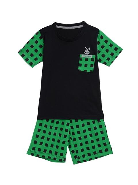 KIDSCRAFT Boys Black & Green T-shirt with Shorts