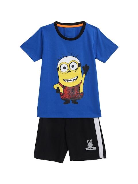 KIDSCRAFT Boys Blue & Black Printed T-shirt with Shorts