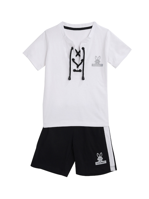 KIDSCRAFT Boys White & Black Solid T-shirt with Shorts