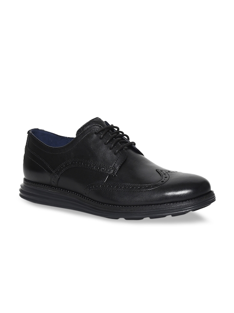 Cole Haan Men Black Leather Lightweight Brogues