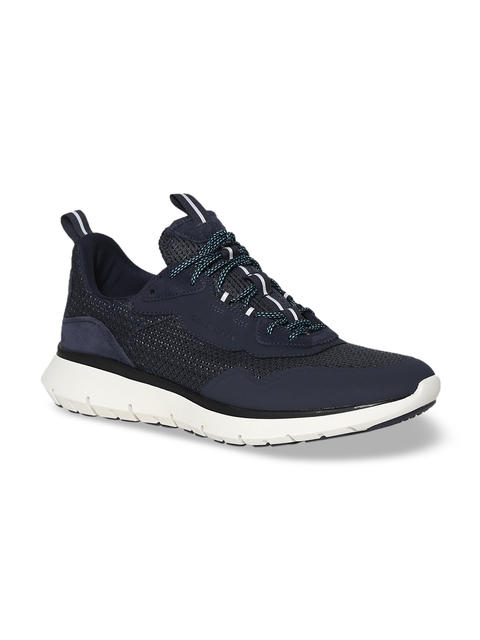 Cole Haan Men Navy Blue Woven Design Mid-Top Sneakers