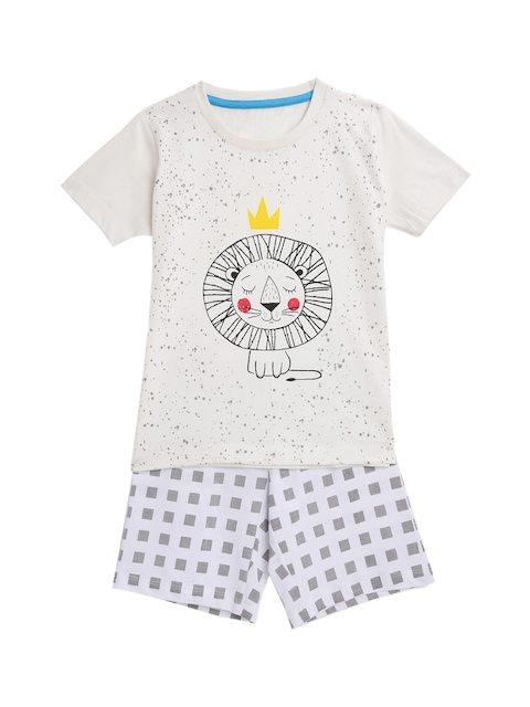 KIDSCRAFT Boys Off-White & Grey Printed T-shirt with Shorts