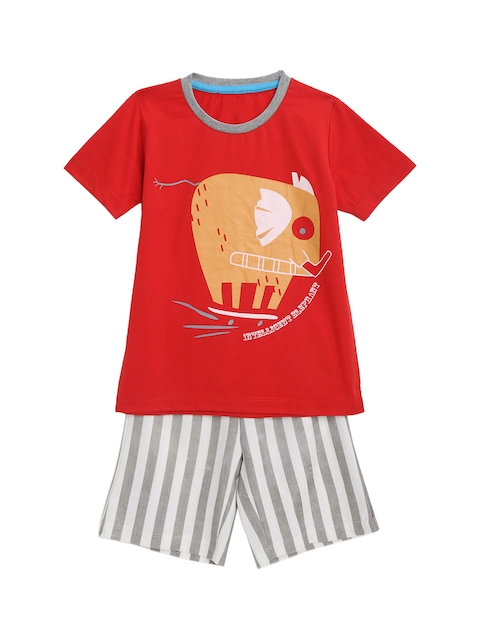 KIDSCRAFT Boys Red & Grey Printed T-shirt with Shorts