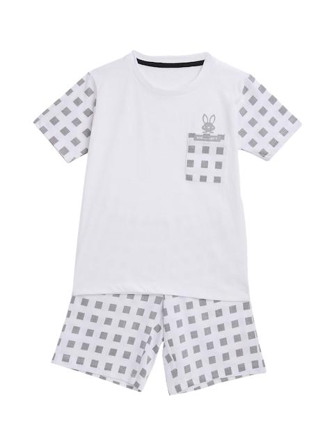 KIDSCRAFT Boys White & Grey T-shirt with Shorts