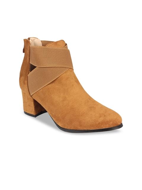 Flat n Heels Women Tan Brown Solid Suede High-Top Heeled Boots