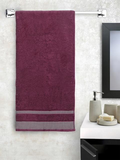 SPACES Unisex Burgundy Solid 600GSM Bath Towel