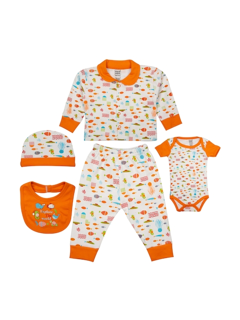 MeeMee Kids Orange & White Printed Clothing Set