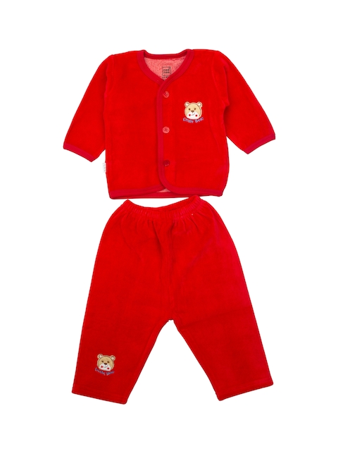 MeeMee Infants Red Solid Top with Lounge Pants