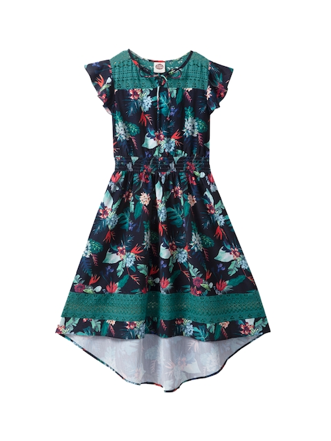 Cub McPaws Girls Printed Navy Blue Fit and Flare Dress