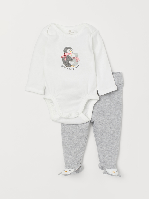 H&M Kids White & Grey Bodysuit And Trousers