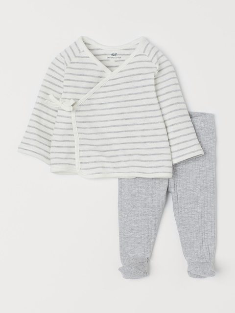 H&M Kids White & Grey Striped Wrapover Top and Trousers
