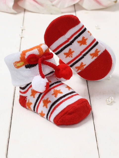 Walktrendy Infant Kids White & Red Printed Bow Detailed Booties