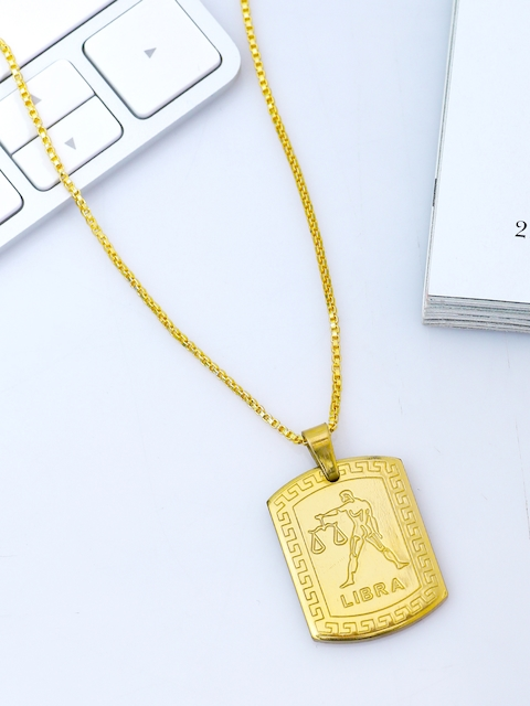 Dare by Voylla Men Gold-Plated Rashi Signs Libra Zodiac Handcrafted Pendant With Chain