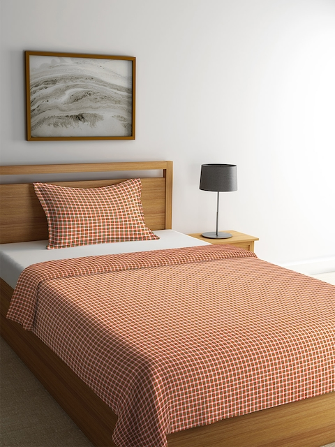 NEUDIS Yellow & Red Checked Single Bed Cover with 1 Pillow Cover
