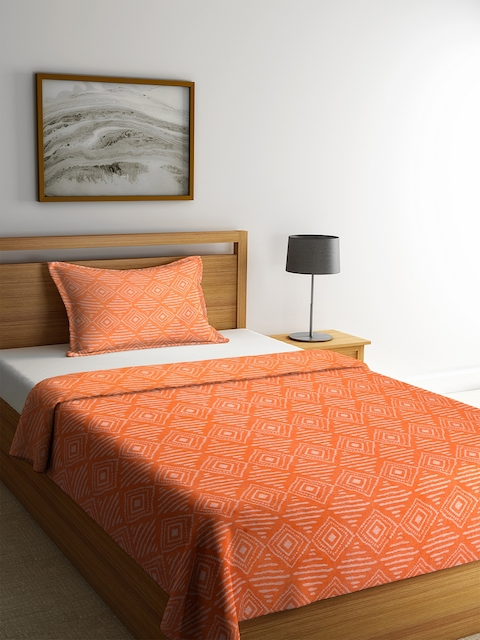 NEUDIS Orange & Off-White Printed Single Bed Cover with 1 Pillow Cover