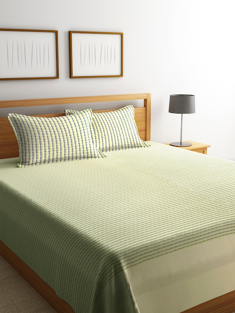 NEUDIS Green & Beige Printed Double Bed Cover with 2 Pillow Covers