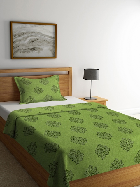 NEUDIS Green Printed Single Bed Cover with 1 Pillow Cover