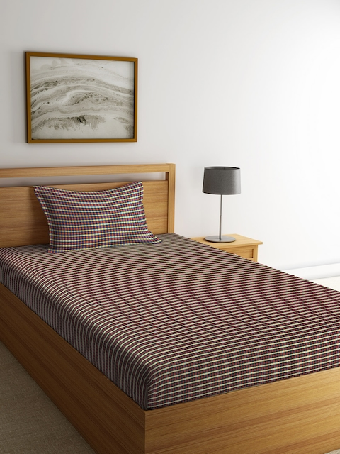 NEUDIS Yellow & Blue Checked Single Bed Cover with 1 Pillow Cover