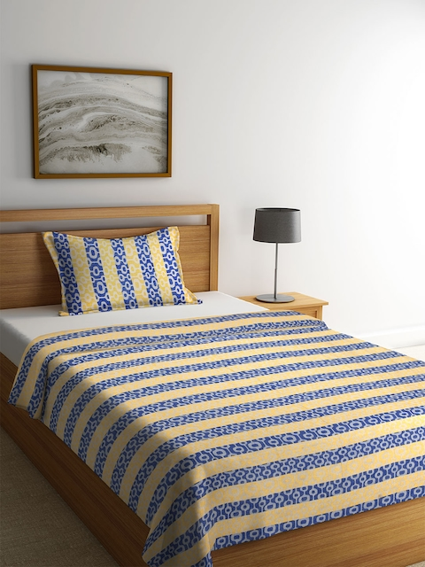 NEUDIS Yellow & Blue Printed Single Bed Cover with 1 Pillow Cover
