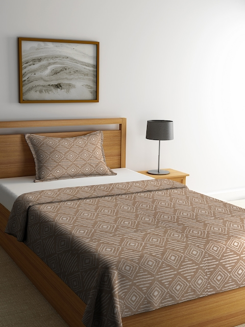 NEUDIS Brown & Off-White Printed Single Bed Cover with 1 Pillow Cover