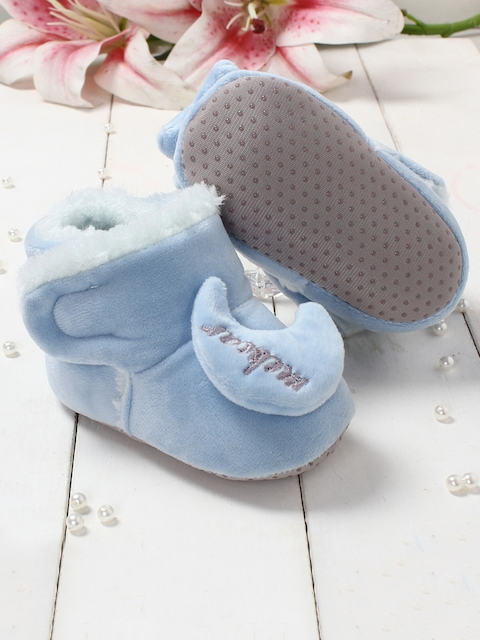 Walktrendy Kids Blue Solid Booties with Applique Detail