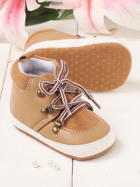 Walktrendy Kids Tan Brown Solid Lace-Up Booties