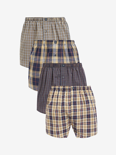 next Men Pack of 4 Navy Blue & Beige Checked Pure Cotton Boxers