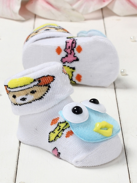 Walktrendy Kids White & Blue Printed Booties with Cartoon Applique